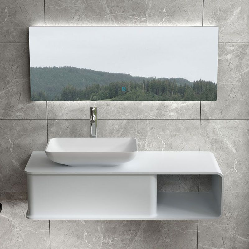 Plan de toilette avec vasque rectangulaire en solid surface SDVP7L