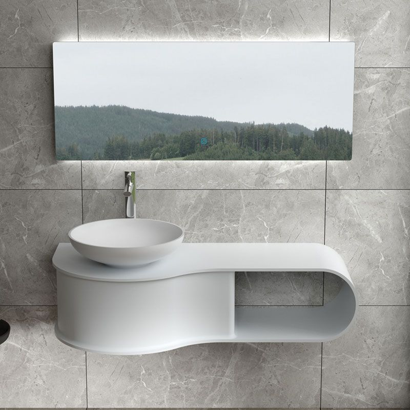 Plan de toilette vague avec vasque ronde en solid surface SDVP9L