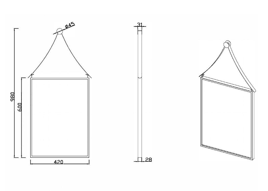 Miroir rectangulaire avec cadre et support d 39 accroche noir sdvm4260 for Miroirs grandes dimensions
