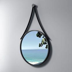 Miroir de salle de bain rond avec rebords en inox noir SDVM5050