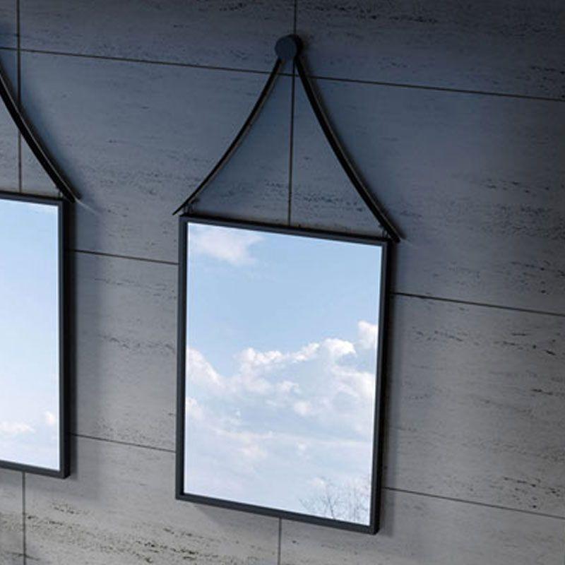 Miroir de salle de bain rectangulaire, miroir rectangulaire noir, miroir à  cadre noir