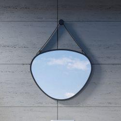 Miroir Goutte avec cadre et accroche en inox noir SDVM5853