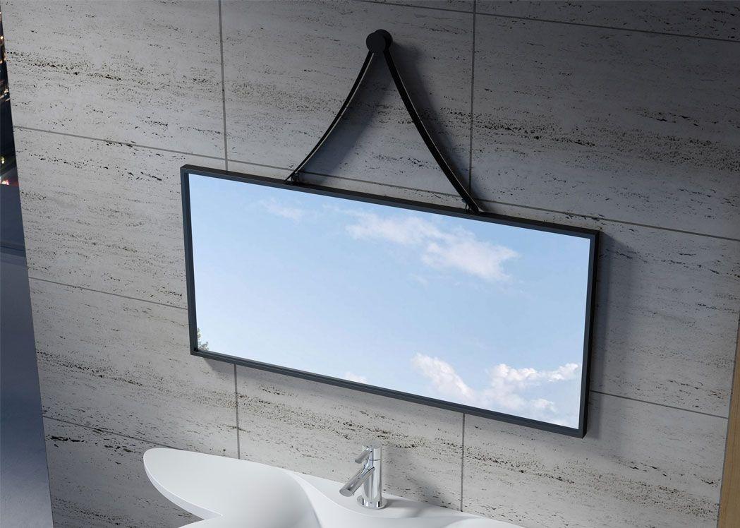 Miroir rectangulaire avec cadre et support d 39 accroche noir for Miroir salle de bain noir