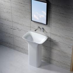 Vasque totem carrée sur pied en solid surface SDV26