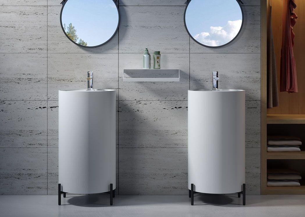 Vasque totem ronde sur pieds en inox noirs sdv88 - Vasque salle de bain ronde ...