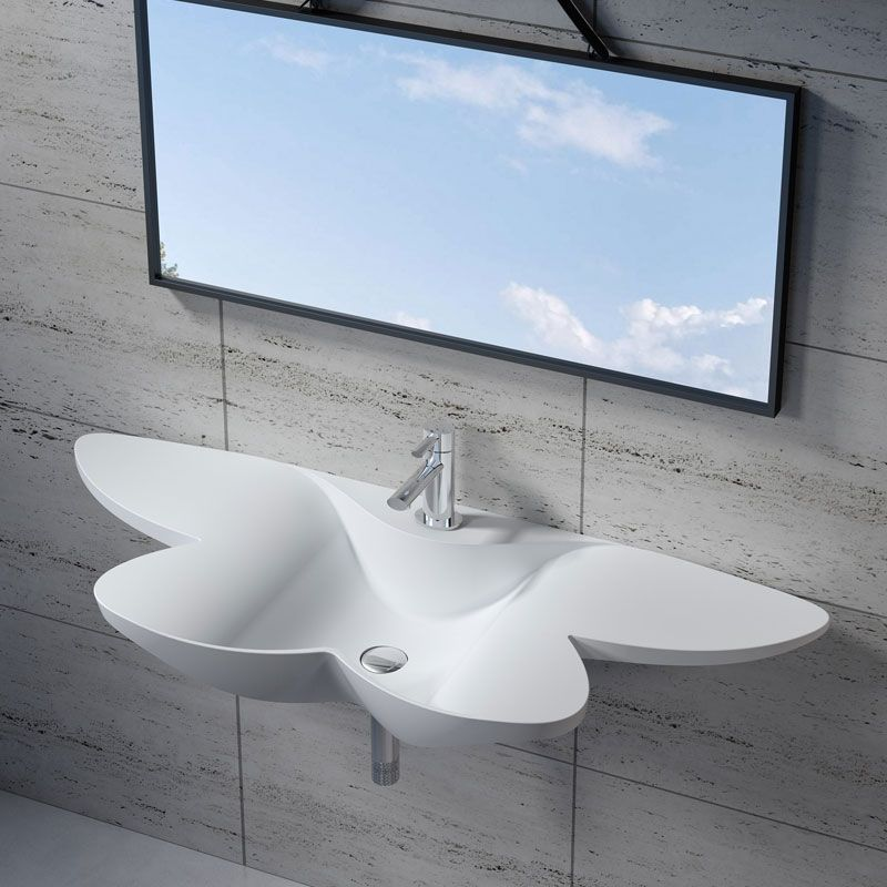 Vasque fleur suspendue en solid surface SDK35