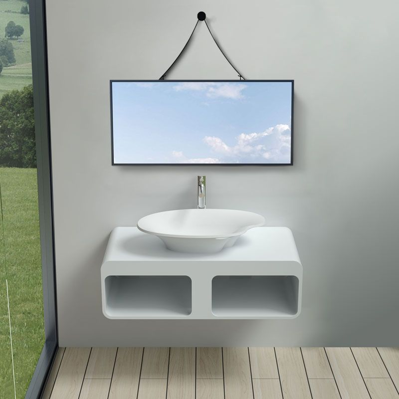 Plan de toilette avec vasque palette en solid surface SDK52 + V45-N