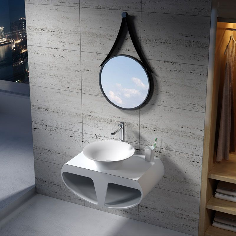 Plan de toilette avec vasque ronde en solid surface SDK55 + SDV32