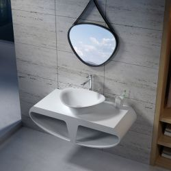 Plan de toilette avec vasque triangle en solid surface SDK51 + SDV34