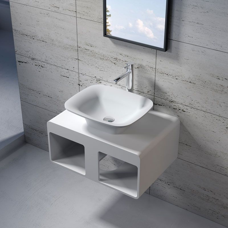 Plan de toilette avec vasque rectangulaire en solid surface SDK54 + SDV33