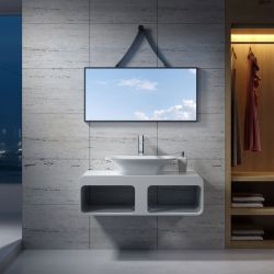 Plan de toilette avec vasque rectangulaire en solid surface SDK52 + SDV36