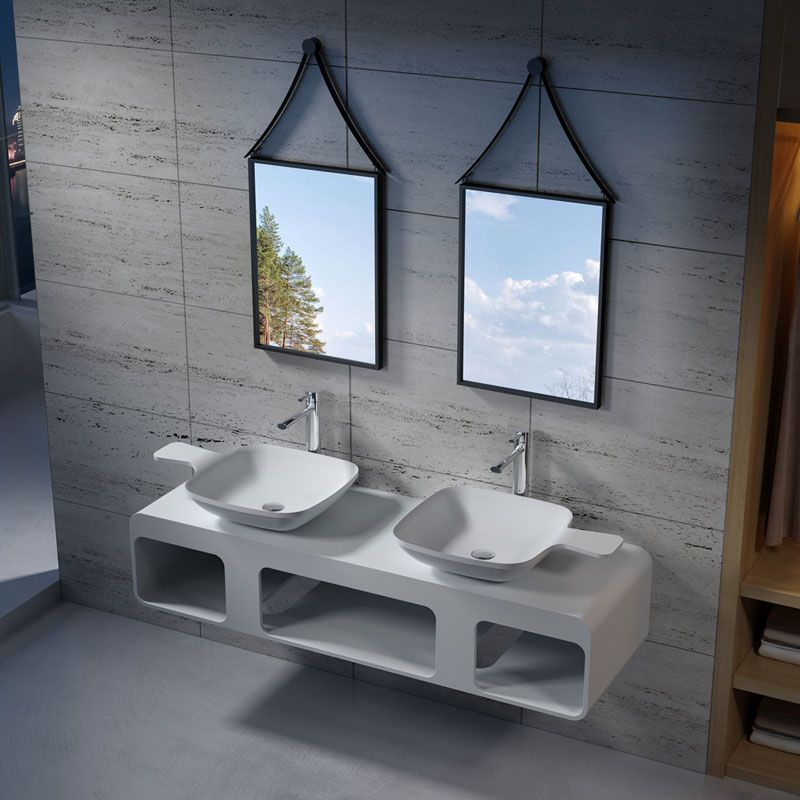 Plan de toilette double avec vasques en solid surface SDK53 + SDV13