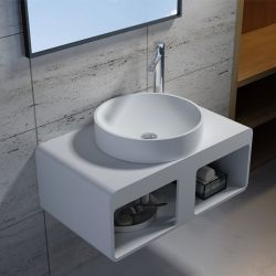 Plan de toilette en solid surface SDK56 + vasque SDV40