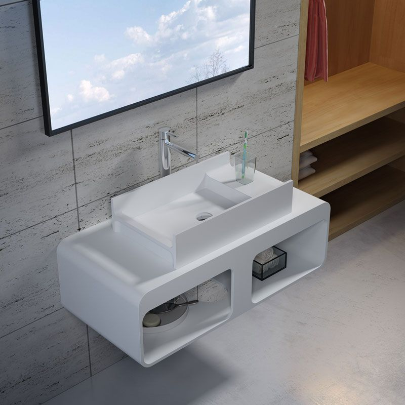 Plan de toilette avec vasque rectangulaire en solid surface SDK52 + SDV71