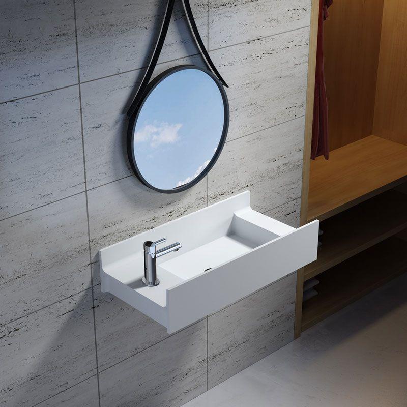 Vasque suspendue en solid surface SDV67L version gauche