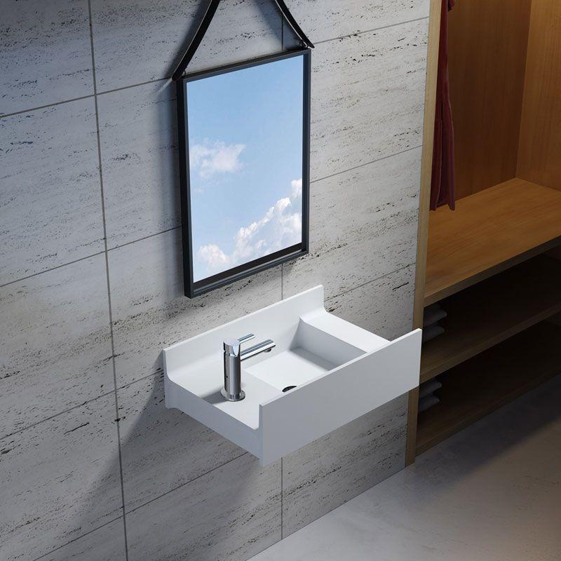 Vasque suspendue en solid surface SDV68L version gauche