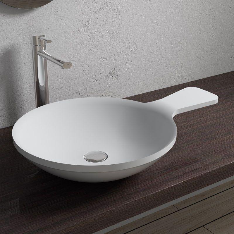 vasque poser cuill re en solid surface blanc mat sdv12. Black Bedroom Furniture Sets. Home Design Ideas