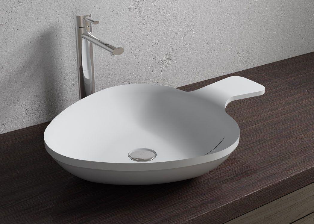 vasque design en solid surface blanc mat sdv14