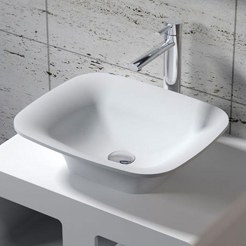 Vasque à poser rectangulaire et évasée en solid surface SDV33