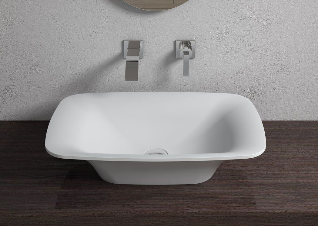 Vasque rectangulaire vas e en solid surface blanc mat sdv36 for Vasque a poser rectangulaire salle de bain