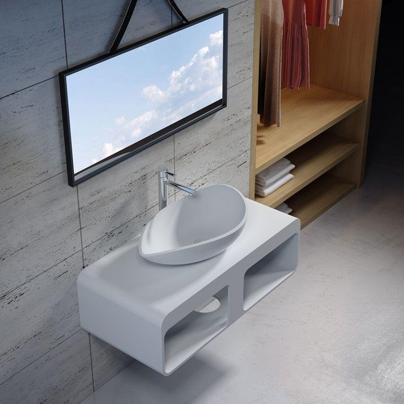 Plan de toilette avec vasque design en solid surface SDK52 + SDV20