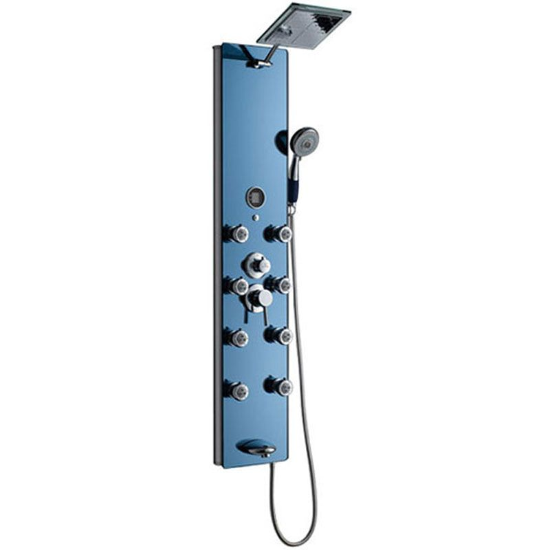 Colonne de douche en aluminium avec façade miroir bleue