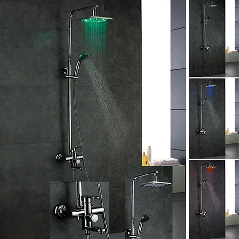 ensemble de douche led colonne de douche led avec d me de douche et douchette. Black Bedroom Furniture Sets. Home Design Ideas