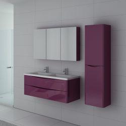 Ensemble de salle de bain double vasque TREVISE Aubergine