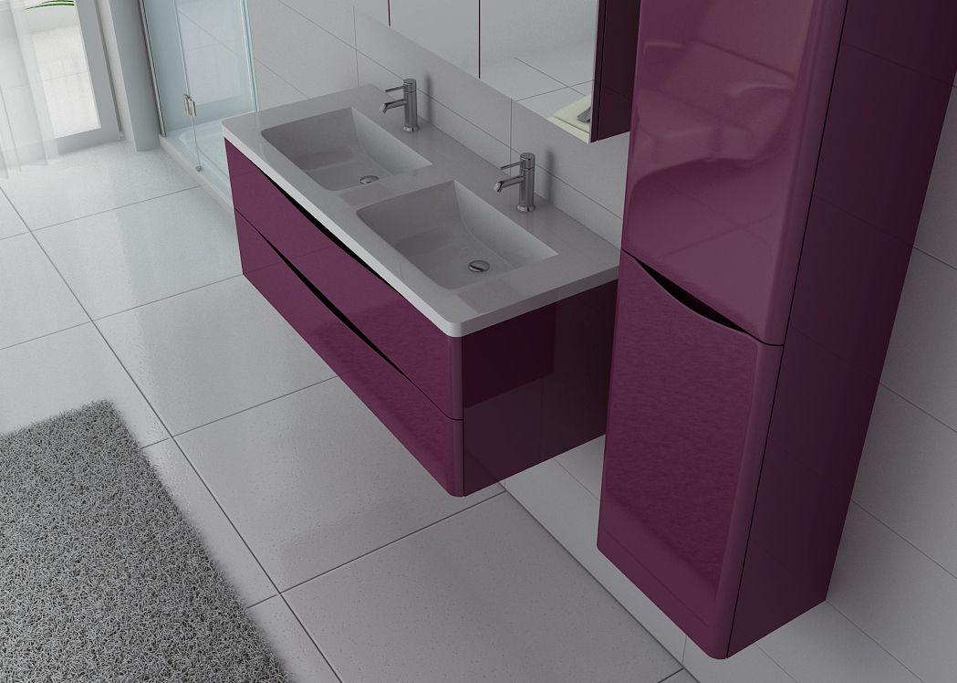 Meuble 2 vasques aubergine ensemble de salle de bain - Meuble 2 vasques ...