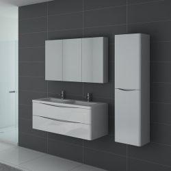 TREVISE Blanc est un meuble salle de bain double vasque suspendu