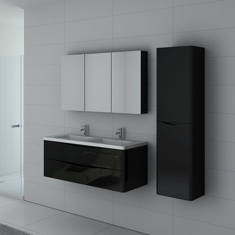 meuble 2 vasques noir laqu ensemble de salle de bain. Black Bedroom Furniture Sets. Home Design Ideas