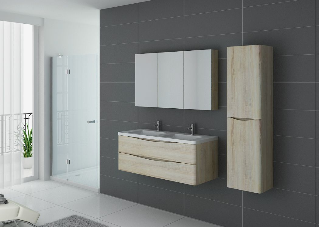 meuble 2 vasques couleur bois ensemble de salle de bain couleur scandinave ref trevise 1200 sc. Black Bedroom Furniture Sets. Home Design Ideas