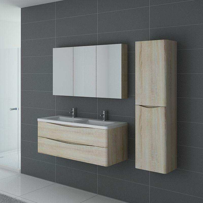 Meuble 2 vasques couleur bois ensemble de salle de bain - Ensemble robinetterie salle de bain ...