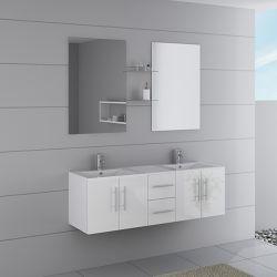 Meuble double vasques blanc avec nombreux rangements DIS1500B