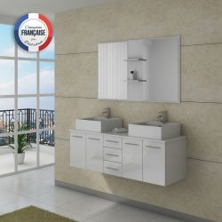 Meuble salle de bain blanc 2 vasques à poser DIS982B