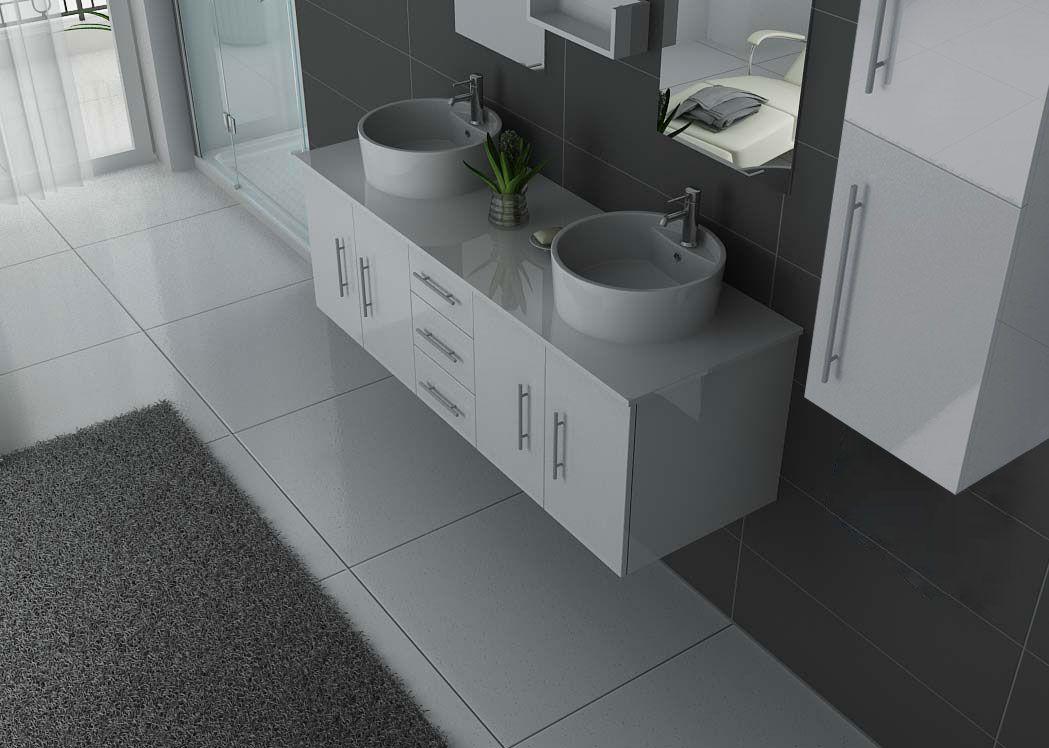 Meuble salle de bain ref dis747b - Meuble 2 vasques ...