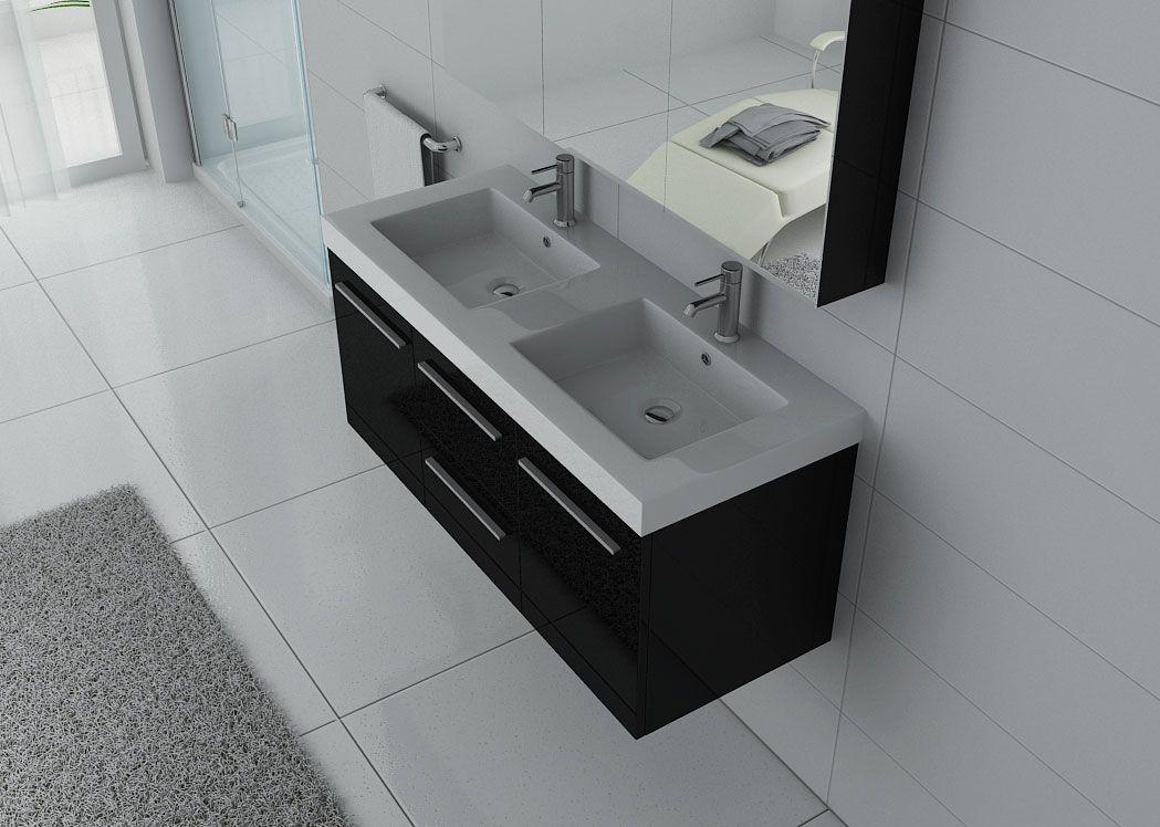 Meuble salle de bain ref palerme n - Meuble double vasque suspendu ...