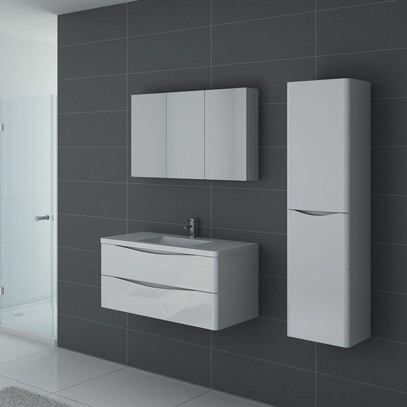 Meuble de salle de bain blanc laqué, meuble 1 vasque blanc réf : TREVISE  1000 B