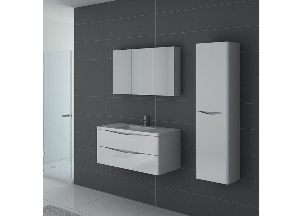 fb7a32b277382 Meuble simple vasque blanc laqué, ensemble de salle de bain couleur ...