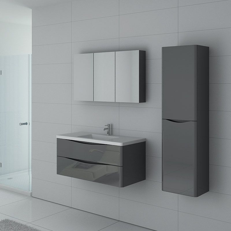meuble simple vasque gris laqu ensemble de salle de bain. Black Bedroom Furniture Sets. Home Design Ideas