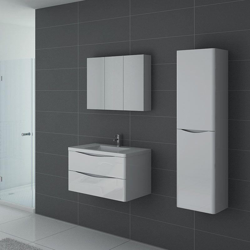 Meuble de salle de bain blanc laqué de 80 cm, meuble de salle de bain 1  vasque blanc