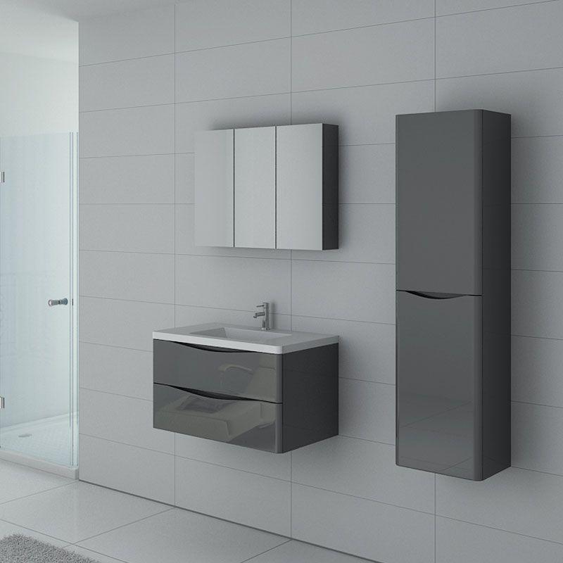 Meuble 1 vasque complet gris taupe ensemble de salle de bain couleur gris ref trevise 800 gt - Meuble salle de bain solde ...