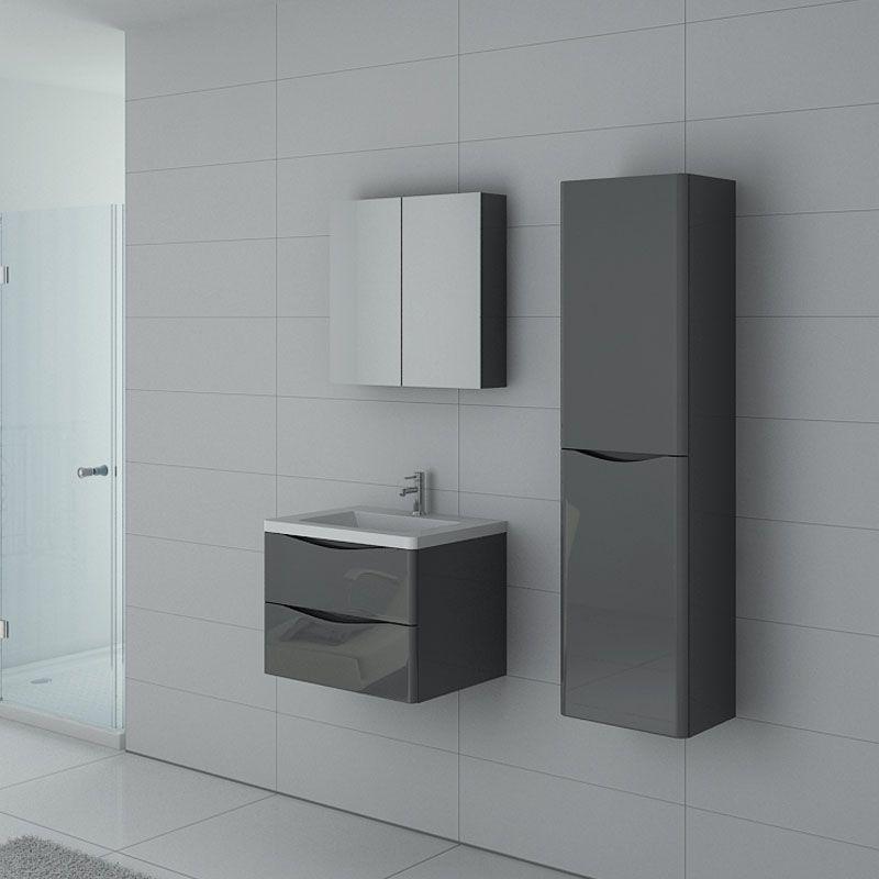 Petit ensemble 1 vasque complet gris brillant ensemble de salle de bain couleur gris taupe ref - Meuble salle de bain solde ...