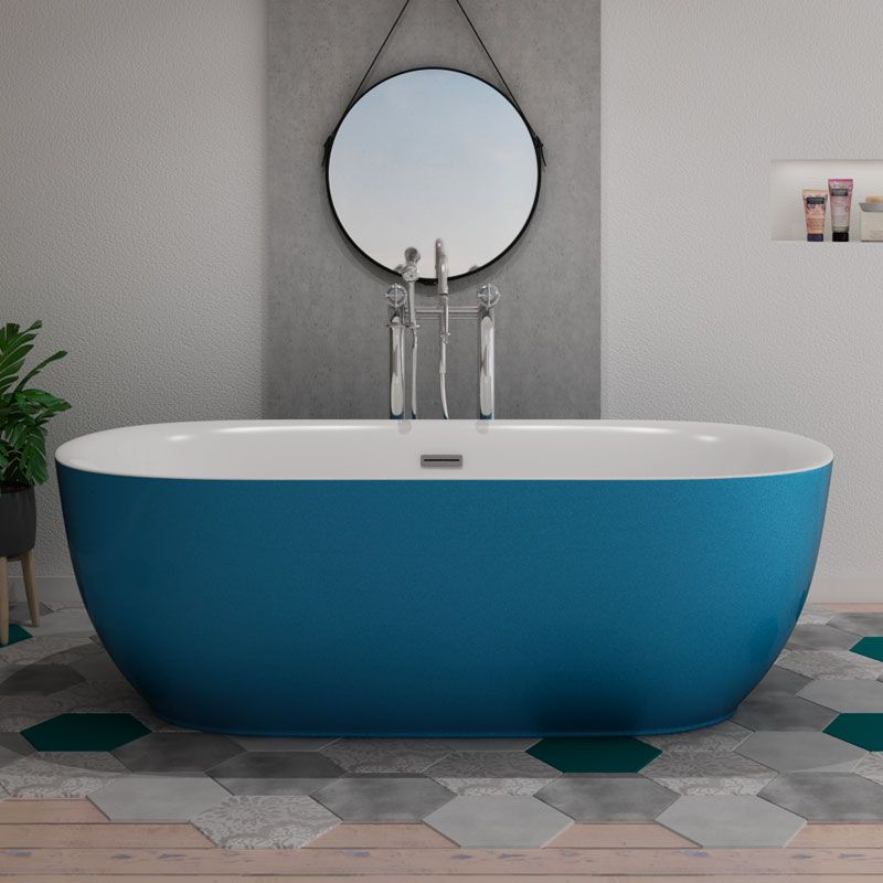 Baignoire îlot bleu design Lamone Blue