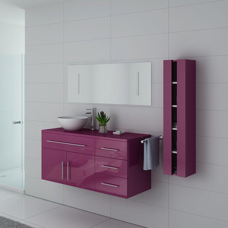 Meubles salle de bain AREZZO AU Aubergine - Salledebain Online