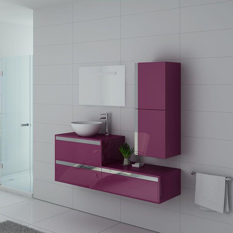 Meubles salle de bain simple vasque Bolzano Aubergine