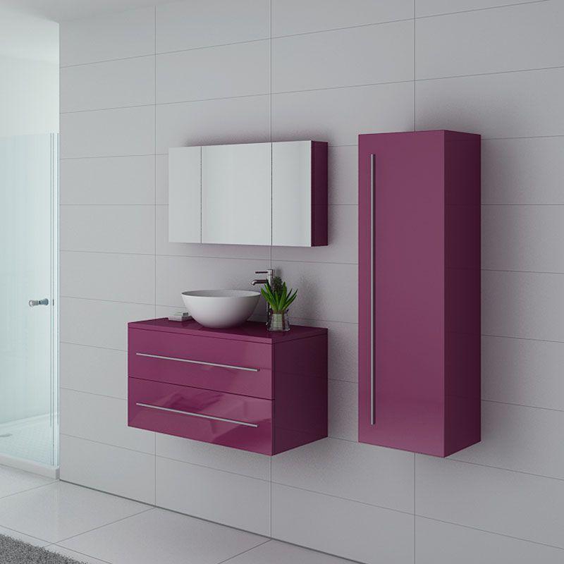 Meubles salle de bain COSENZA AU Aubergine