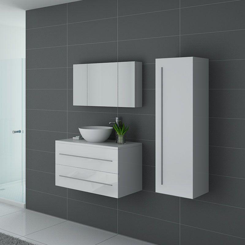 Meubles salle de bain blanc laqué CONSENZA B
