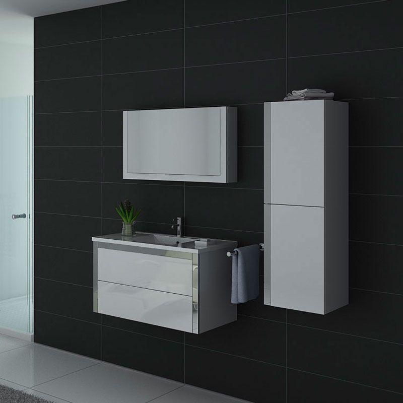 Meuble de salle de bain blanc 1 vasque DIS025-900B