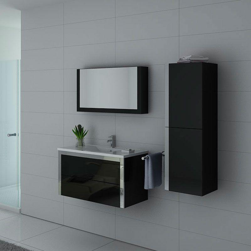 Ensemble de meubles noirs pour sanitaires simple vasque DIS025-900N
